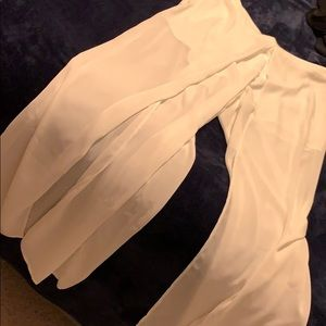 White beach pants with front slip